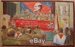 Peinture À L'huile Russe Soviétique D'ukraine Réalisme Socialiste Lénine Pionnier De Rencontre