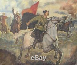 Peinture À L'huile Russe Vintage Originale Chapaev Dans La Bataille Art De La Propagande Soviétique