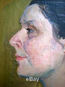 Peinture À L'huile Soviétique Antique Russe Neratova 1940 Autoportrait Qualité De Musée
