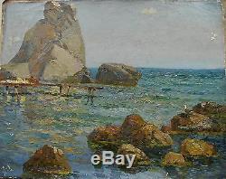 Peinture À L'huile Soviétique Russe Ukrainien Impressionnisme Paysage Marin Amarrage Falaise
