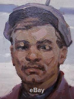 Peinture À L'huile Soviétique Russe Ukrainien Lénine Dzerjinsky Réalisateur Ouvrier