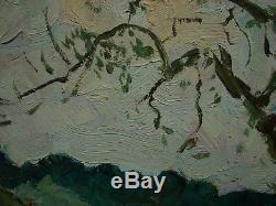 Peinture À L'huile Soviétique Russe Ukrainien Paysage Impressionnisme Été Promenade Glade