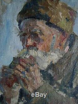 Peinture À L'huile Soviétique Russe Ukrainien Portrait Réalisme Fille Vieil Homme Époque Staline