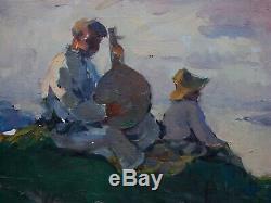 Peinture À L'huile Soviétique Russe Ukrainien Réalisme Bandura Joueur Figure Rivière Chanson