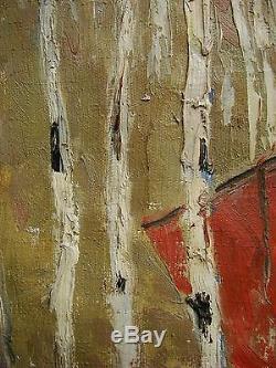 Peinture À L'huile Soviétique Russe Ukrainien Réalisme Drapeau De Bouleau Enfants Héros
