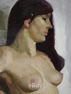 Peinture À L'huile Soviétique Russe Ukrainien Réalisme Portrait Fille Femme Figure Nue