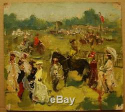 Peinture À L'huile Soviétique Russe Ukrainienne Impressionnisme Conduite Sur Une Promenade De Chevaux