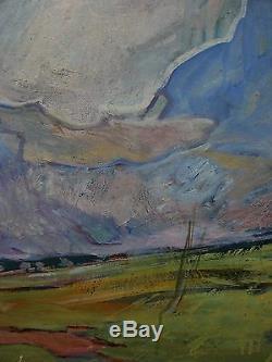 Peinture À L'huile Soviétique Russe Ukrainienne Paysage Impressionnisme Nuages soleil