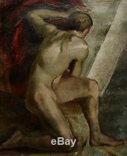 Peinture À L'huile Soviétique Ukrainienne Russe Figure Masculine Nue Garçon Avant-garde Fauvisme