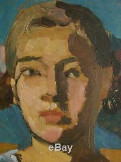 Peinture Russe Huile Soviétique D'ukraine Postimpressionism Fille Portrait Femme