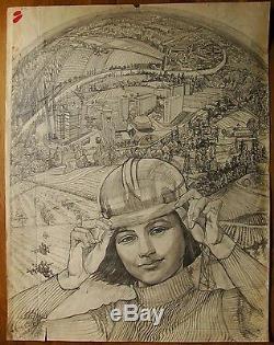 Peinture Russe Soviétique Ukrainien Réalisme Fille Constructeur Affiche Croquis Panorama