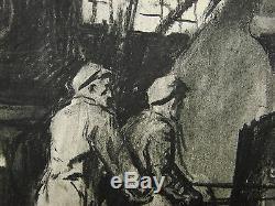 Peinture Soviétique Ukrainienne Industria Soc Réalisme Acier Manufacture Des Années 1950