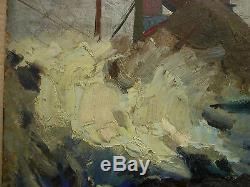 Peinture Ukrainienne Soviétique Russe Réaliste Réalisme Des Années 1950 Industrialisme Mine De Charbon