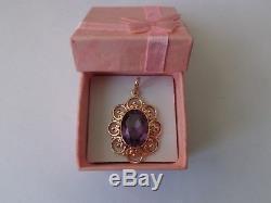 Pendentif Vintage En Or Rose Massif Soviétique 14k 583 Alexandrite 4.78 Gr Urss Russe