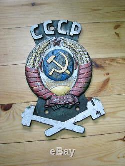 Plaque Originale De Manteau Des Bras De Plaque De Signe Russe Russe Antique Soviétique Locomotive De Train