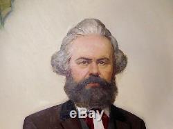 Portrait De Karl Marx, Grand Dessin À L'huile Russe D'origine Russe, P. F. Samusev 1979