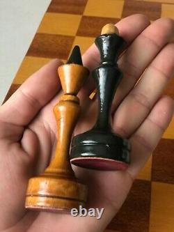 Rare 1950 Vintage Urss Soviétique Russe Jeu D'échecs En Bois Folding Board