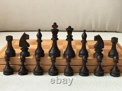 Rare 1980 Vintage Urss Soviétique Russe Jeu D'échecs En Bois Folding Board