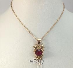 Rare Luxe Unique Vintage Urss Russe Pendentif Or Soviétique Ruby Pierre 583 14k