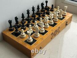Rare Poids Vintage Urss Soviétique Russe En Plastique Jeu D'échecs Pliant Board Vieux