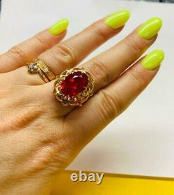 Rare Ring Russie Soviet Star Vintage Urss Bijoux Or 14k 583 Grand Ruby