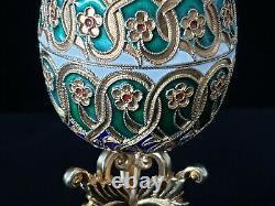 Rare Soviétique Russe Cloisonne Enamel 88 Argent Faberge Egg 875 24k Or Gilt Ru