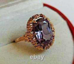 Rare Vintage Anneau Alexandrite Rose Massif Or 583 14k Étoile Russe Urss Soviétique