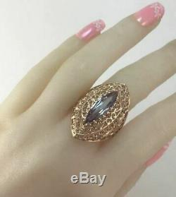 Rare Vintage Luxe Urss Russe Bague En Or Marquise Alexandrite 583 14k Taille 9.5