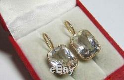 Rare Vintage Naturel Cristal De Roche Boucles D'oreilles Urss Russe En Argent Sterling 875 Gilt