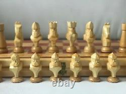 Rare Vintage Urss Soviétique Russe Jeu D'échecs En Bois Folding Board Antique