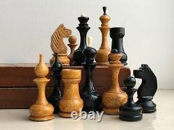 Rare Vintage Urss Soviétique Russe Jeu D'échecs En Bois Folding Board Vtg Old Chessmen
