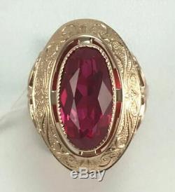 Rose Urss Royal Vintage Unique Russe Soviétique Bague En Or Ruby 583 14k Taille 6.5