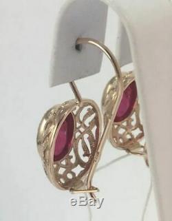 Royal Vintage Original Urss Soviétique Russe Or Rose Massif 583 Boucles D'oreilles 14k Ruby