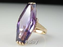Russe Alexandrite Bague En Or Rose 14k Urss Union Soviétique Fine Jewelry Taille 5.75
