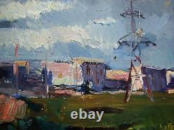 Russe Huile Soviétique D'ukraine Peinture Impressionisme Ligne Électrique De Pluie Réalisme Ville