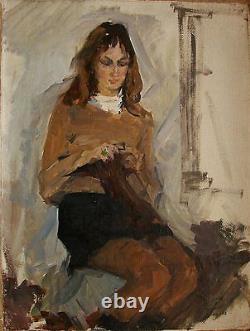 Russe Huile Soviétique D'ukraine Peinture Portrait Réalisme Fille Impressionisme