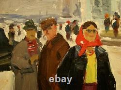 Russe Huile Soviétique D'ukraine Peinture Réalisme Hall Du Village De Chiffres Genre