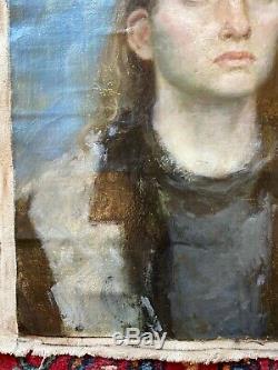 Russe Huile Soviétique Peinture Réalisme Portrait Féminin Toile