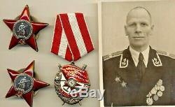 Russe Médaille Soviétique Badge Commande Rouge Étoile Bannière Rouge Et Photo (1040)