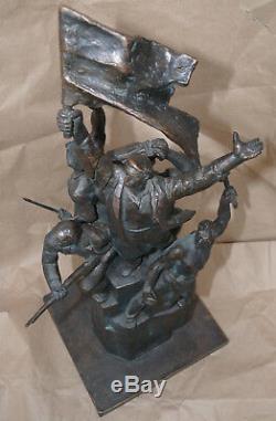 Russe Revolutionnaires Sculpture Statue En Bronze Rouge Propagande Soviétique Buste Rare