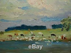 Russe Rivière Ukrainienne Vaches Du Troupeau Paysage Peinture À L'huile Soviétique Impressionisme