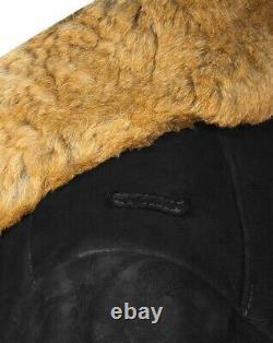 Russe Tulup Bekesha Officier D'hiver Sheepskin Coat Army Urss Shearling Veste