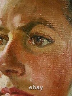 Russe Ukrainian Soviétique Huile Peinture Réalisme Femme Portrait Fille Femme 1950s