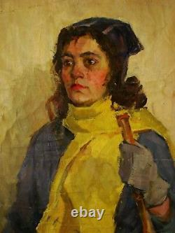 Russe Ukrainian Soviétique Peinture À L'huile Portrait Féminin Réalisme Fille Skier