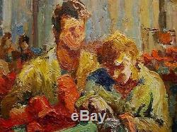 Russe Ukrainien Portrait Peinture À L'huile Soviétique Homme Réalisme Travail Machiniste