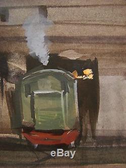Russe Ukrainien Soviétique Aquarelle Réalisme Peinture Industrielle Depot Locomotive
