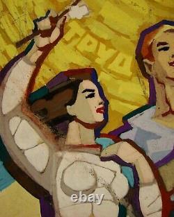Russe Ukrainien Soviétique Gouache Peinture Famille Père Enfant Croquis