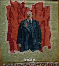 Russe Ukrainien Soviétique Lénine Portrait Tapisserie Tapis Tapis Gobelin Soc Réalisme