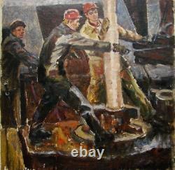 Russe Ukrainien Soviétique Peinture À L'huile Portrait Socialiste Réalisme Travailleur Homme