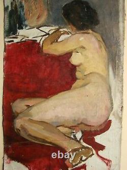 Russe Ukrainien Soviétique Peinture À L'huile Réalisme Femme Nue Figure Femme Fille